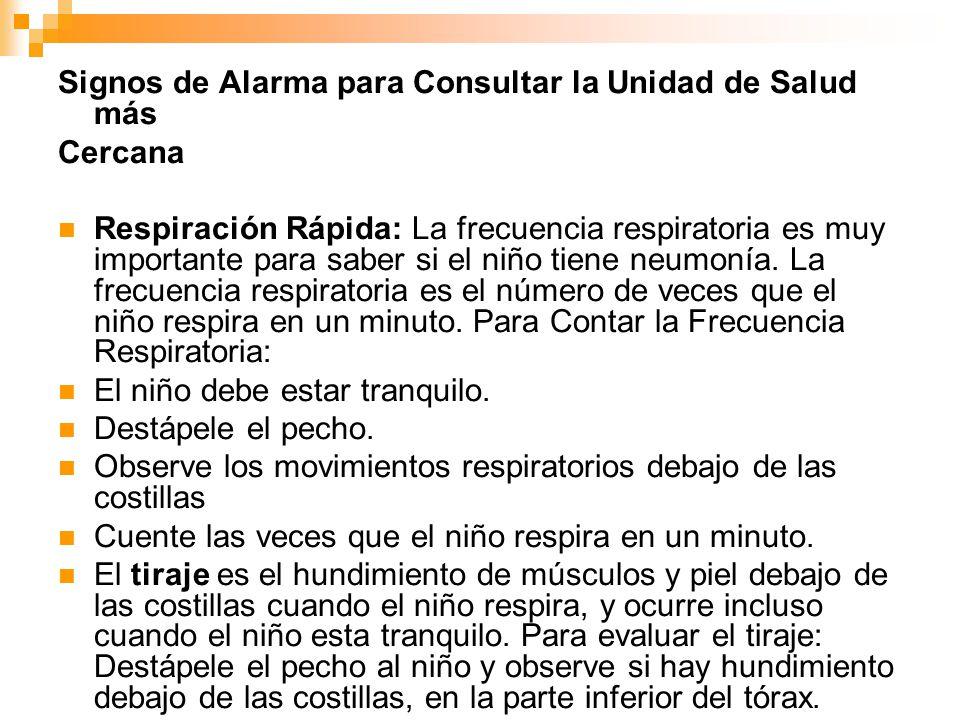 Signos de Alarma para Consultar la Unidad de Salud más Cercana Respiración Rápida: La frecuencia respiratoria es muy importante para saber si el niño