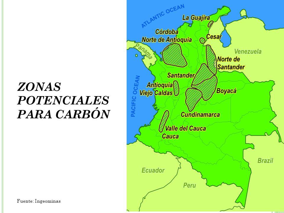 ZONAS POTENCIALES PARA CARBÓN Fuente: Ingeominas