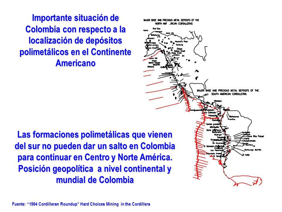 Fuente: 1994 Cordilleran Roundup Hard Choices Mining in the Cordillera Importante situación de Colombia con respecto a la localización de depósitos po