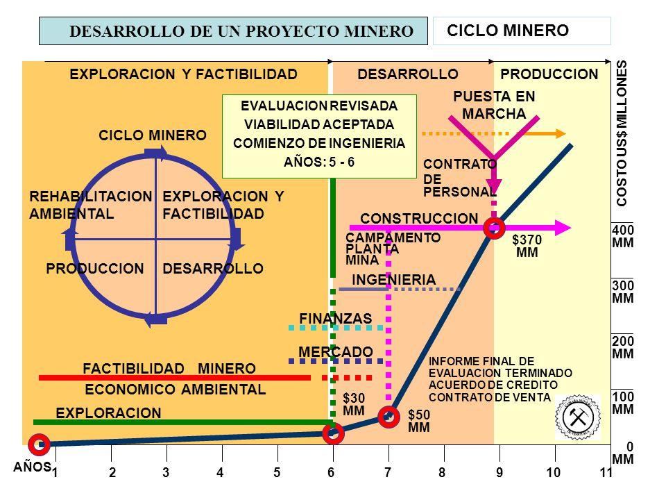 DESARROLLO DE UN PROYECTO MINERO CICLO MINERO AÑOS 1 2 3 4 5 6 7 8 9 10 11 400 MM 300 MM 200 MM 100 MM 0 MM COSTO US$ MILLONES EVALUACION REVISADA VIA