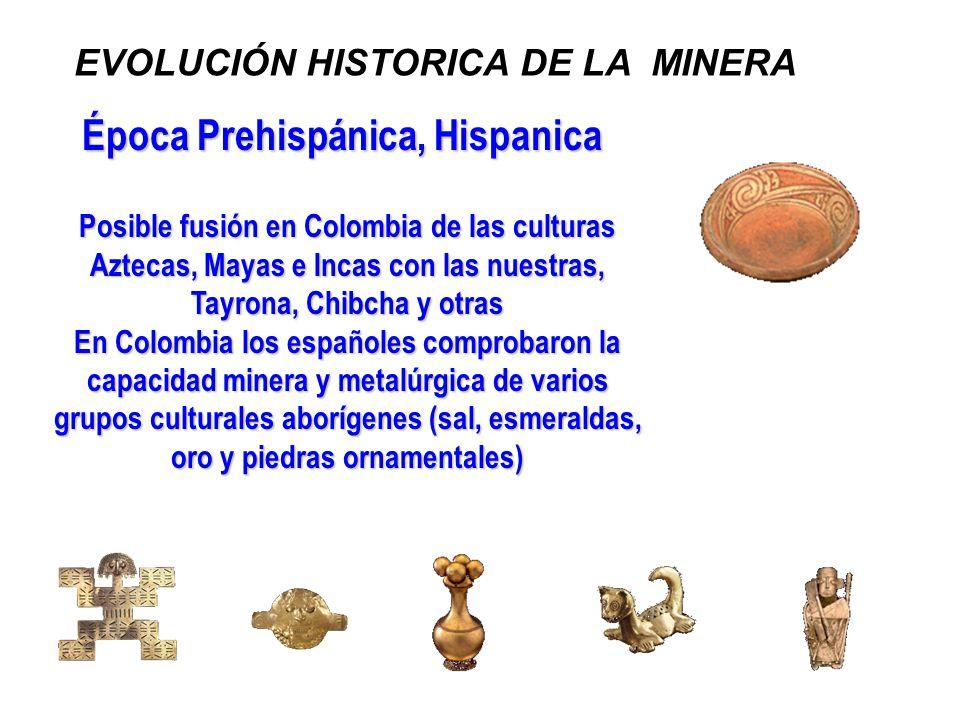 Época Prehispánica, Hispanica Posible fusión en Colombia de las culturas Aztecas, Mayas e Incas con las nuestras, Tayrona, Chibcha y otras En Colombia