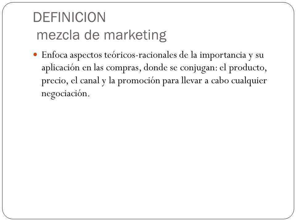 DEFINICION mezcla de marketing Enfoca aspectos teóricos-racionales de la importancia y su aplicación en las compras, donde se conjugan: el producto, p