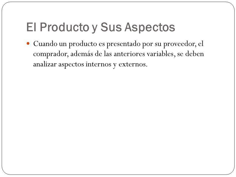 El Producto y Sus Aspectos Cuando un producto es presentado por su proveedor, el comprador, además de las anteriores variables, se deben analizar aspe