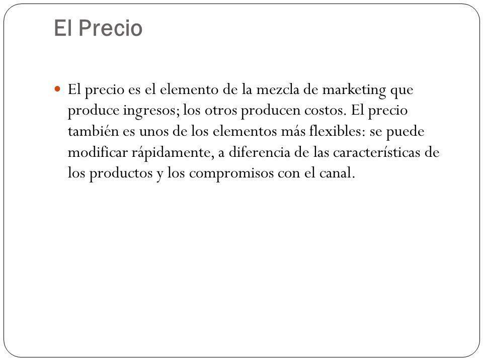 El Precio El precio es el elemento de la mezcla de marketing que produce ingresos; los otros producen costos. El precio también es unos de los element