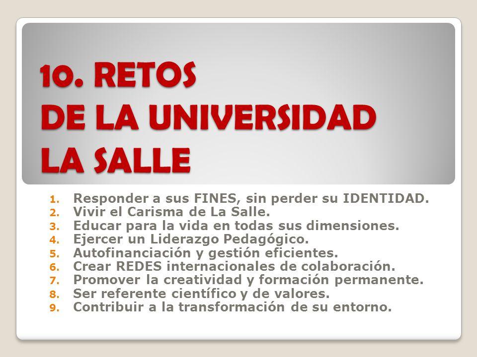 10.RETOS DE LA UNIVERSIDAD LA SALLE 1. Responder a sus FINES, sin perder su IDENTIDAD.