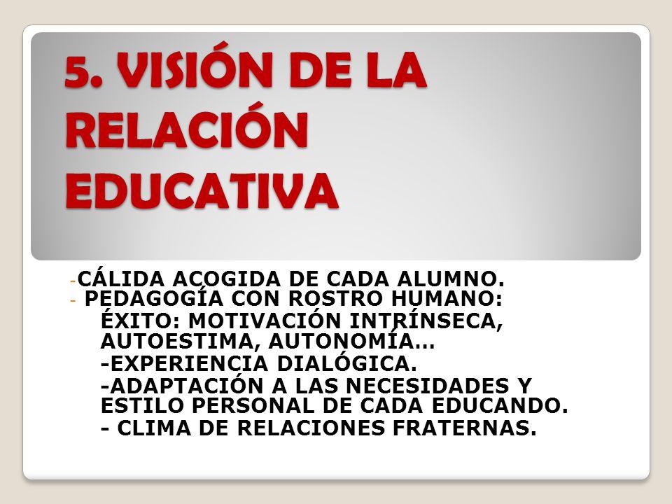 5.VISIÓN DE LA RELACIÓN EDUCATIVA - CÁLIDA ACOGIDA DE CADA ALUMNO.