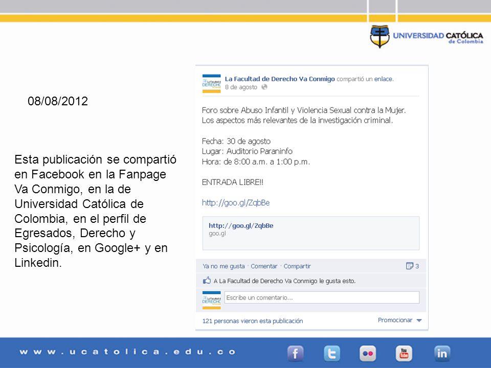 Redes Sociales FechaRed social# de publicaciones # de me gusta / Retweets 02/08/2012Facebook11 03/08/2012Facebook22 06/08/2012Facebook13 08/08/2012Facebook17 10/08/2012Facebook16 15/08/2012Facebook17 21/08/2012Facebook11 22/08/2012Facebook13 23/08/2012Facebook214 24/08/2012Facebook16 27/08/2012Facebook17 28/08/2012Facebook24 29/08/2012Facebook212 02/08/2012Twitter1 03/08/2012Twitter1 06/08/2012Twitter1 08/08/2012Twitter11 10/08/2012Twitter1 15/08/2012Twitter11 21/08/2012Twitter1 22/08/2012Twitter1 23/08/2012Twitter3 24/08/2012Twitter2 27/08/2012Twitter21 28/08/2012Twitter3 29/08/2012Twitter33