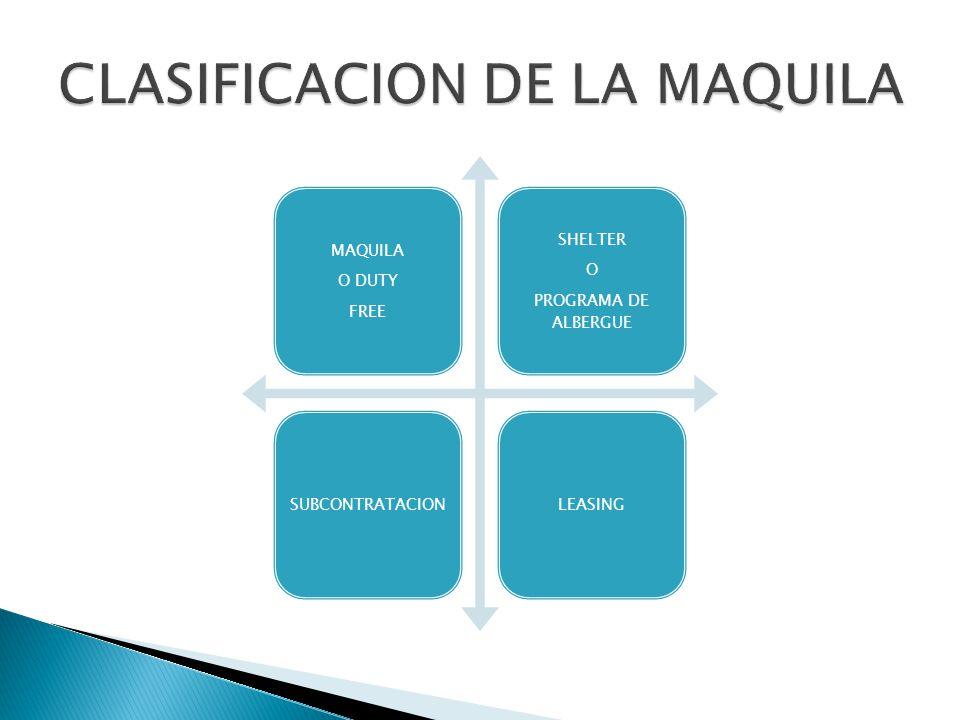 MAQUILA O DUTY FREE SHELTER O PROGRAMA DE ALBERGUE SUBCONTRATACIONLEASING