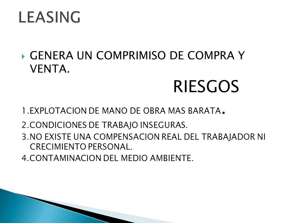 GENERA UN COMPRIMISO DE COMPRA Y VENTA. RIESGOS 1.EXPLOTACION DE MANO DE OBRA MAS BARATA. 2.CONDICIONES DE TRABAJO INSEGURAS. 3.NO EXISTE UNA COMPENSA