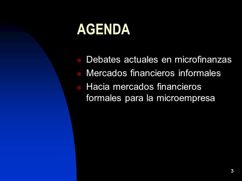 3 AGENDA Debates actuales en microfinanzas Mercados financieros informales Hacia mercados financieros formales para la microempresa