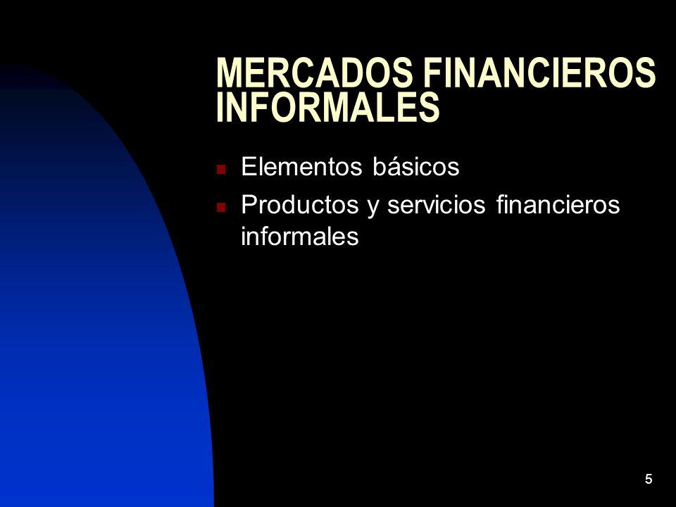 5 MERCADOS FINANCIEROS INFORMALES Elementos básicos Productos y servicios financieros informales