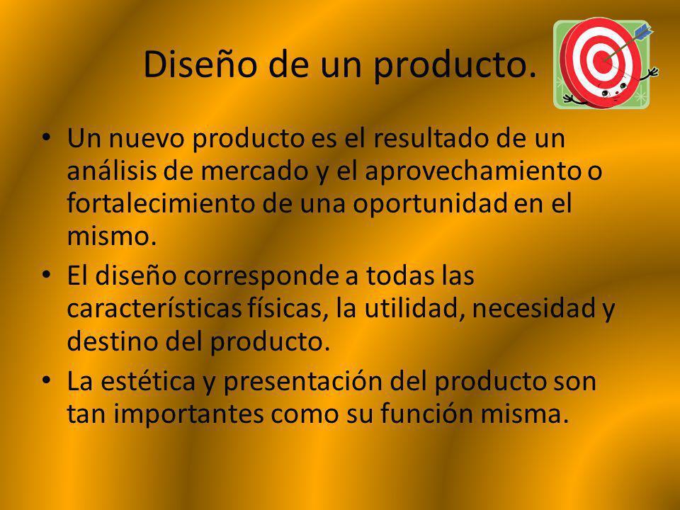 Diseño de un producto. Un nuevo producto es el resultado de un análisis de mercado y el aprovechamiento o fortalecimiento de una oportunidad en el mis