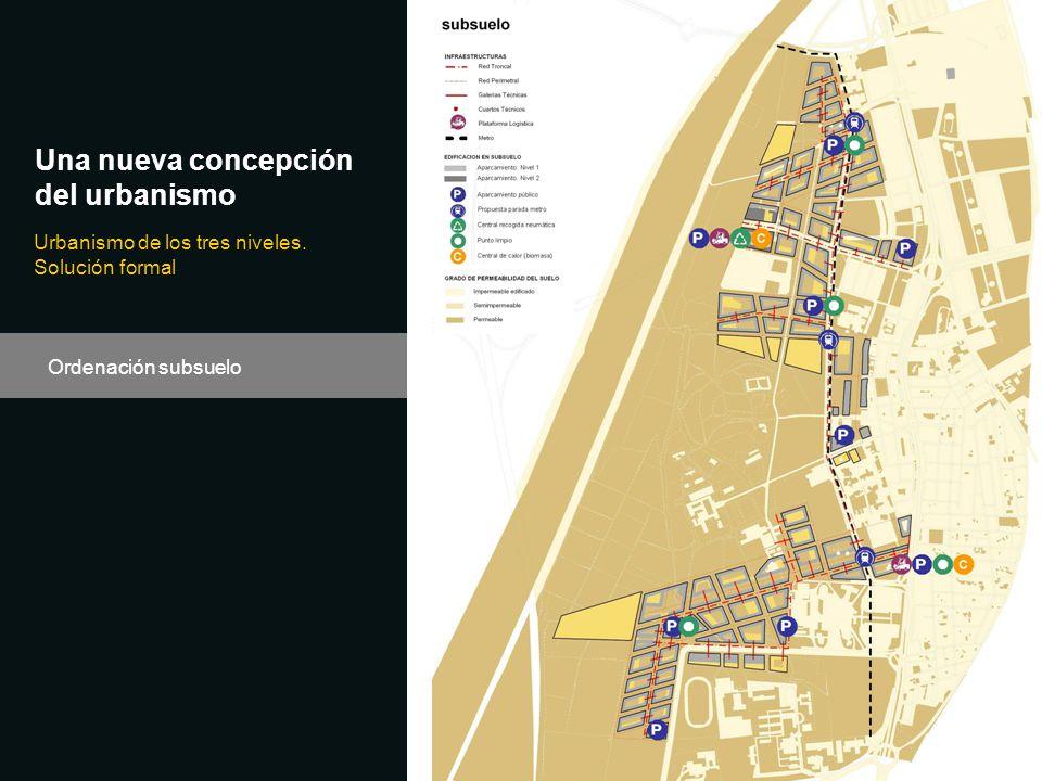 Una nueva concepción del urbanismo Urbanismo de los tres niveles. Solución formal Ordenación subsuelo