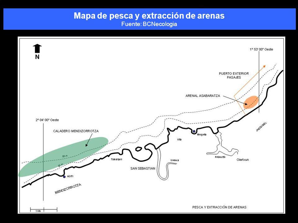 Mapa de pesca y extracción de arenas Fuente: BCNecologia