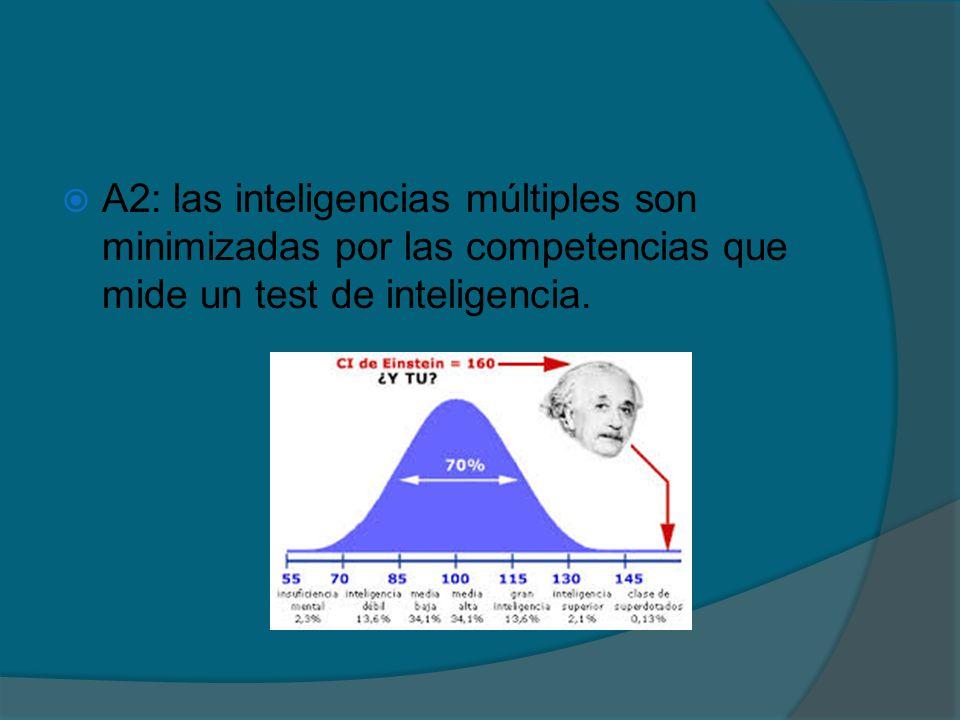 A2: las inteligencias múltiples son minimizadas por las competencias que mide un test de inteligencia.