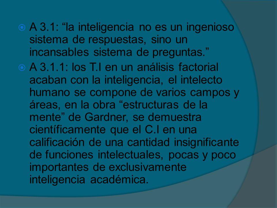 A 3.1: la inteligencia no es un ingenioso sistema de respuestas, sino un incansables sistema de preguntas.