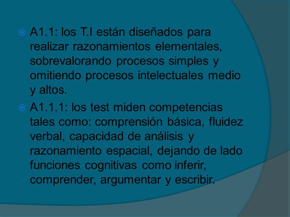 A1.1: los T.I están diseñados para realizar razonamientos elementales, sobrevalorando procesos simples y omitiendo procesos intelectuales medio y altos.