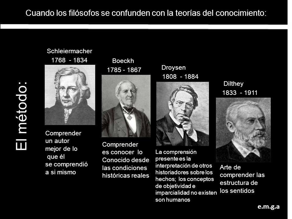 Cuando los filósofos se confunden con la teorías del conocimiento: Schleiermacher Boeckh Dilthey 1768 - 1834 1785 - 1867 1808 - 1884 1833 - 1911 Compr