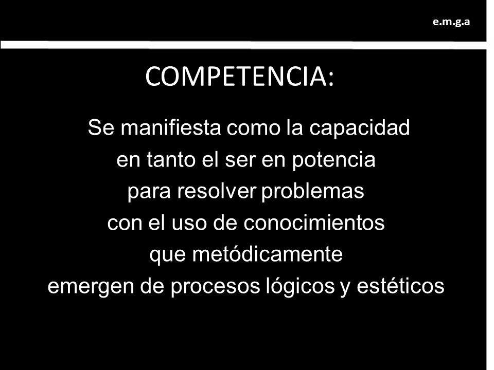 COMPETENCIA: Se manifiesta como la capacidad en tanto el ser en potencia para resolver problemas con el uso de conocimientos que metódicamente emergen