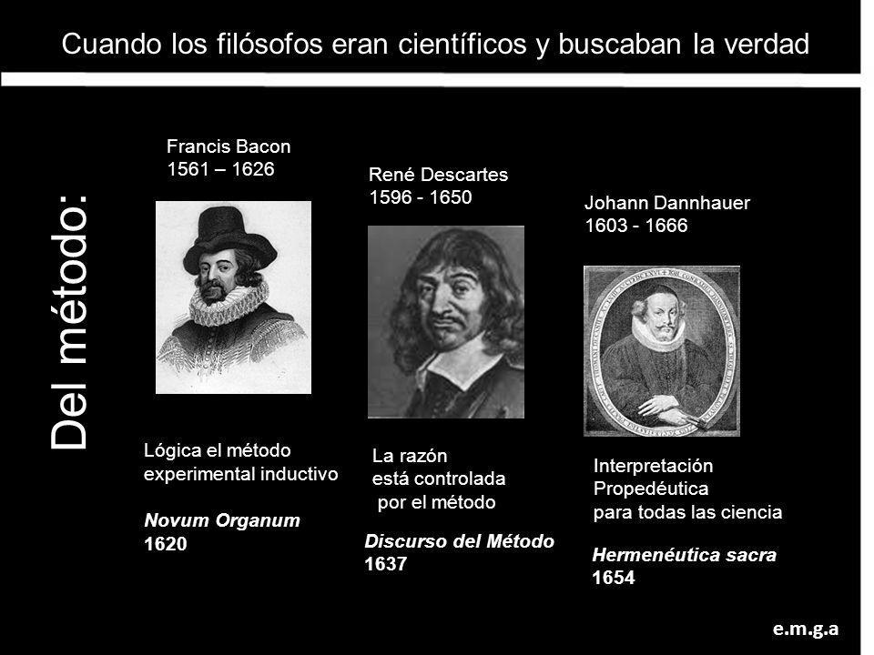 Lógica el método experimental inductivo Novum Organum 1620 Francis Bacon 1561 – 1626 René Descartes 1596 - 1650 La razón está controlada por el método
