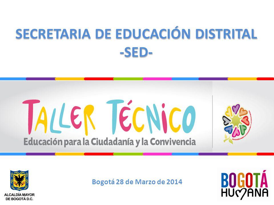 SECRETARIA DE EDUCACIÓN DISTRITAL -SED- SECRETARIA DE EDUCACIÓN DISTRITAL -SED- Bogotá 28 de Marzo de 2014