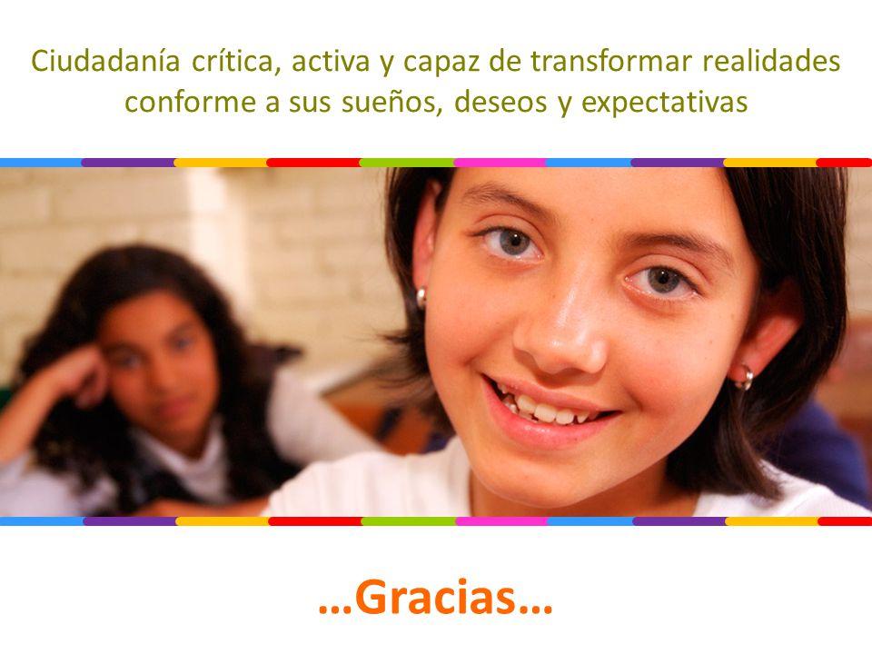 Ciudadanía crítica, activa y capaz de transformar realidades conforme a sus sueños, deseos y expectativas …Gracias…