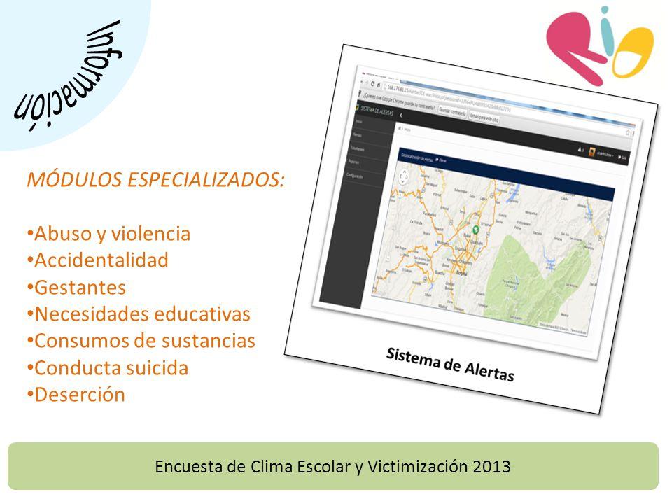 MÓDULOS ESPECIALIZADOS: Abuso y violencia Accidentalidad Gestantes Necesidades educativas Consumos de sustancias Conducta suicida Deserción Encuesta de Clima Escolar y Victimización 2013