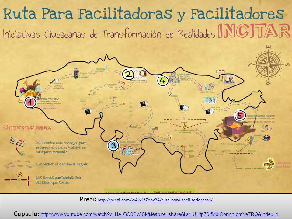 Prezi: http://prezi.com/w4kxi37eox34/ruta-para-facilitadoresas/ http://prezi.com/w4kxi37eox34/ruta-para-facilitadoresas/ Capsula: http://www.youtube.com/watch?v=HA-GO0Sv3Sk&feature=share&list=UUtp76jfM0lObnnn-gmYeTRQ&index=1 http://www.youtube.com/watch?v=HA-GO0Sv3Sk&feature=share&list=UUtp76jfM0lObnnn-gmYeTRQ&index=1 Prezi: http://prezi.com/w4kxi37eox34/ruta-para-facilitadoresas/ http://prezi.com/w4kxi37eox34/ruta-para-facilitadoresas/ Capsula: http://www.youtube.com/watch?v=HA-GO0Sv3Sk&feature=share&list=UUtp76jfM0lObnnn-gmYeTRQ&index=1 http://www.youtube.com/watch?v=HA-GO0Sv3Sk&feature=share&list=UUtp76jfM0lObnnn-gmYeTRQ&index=1