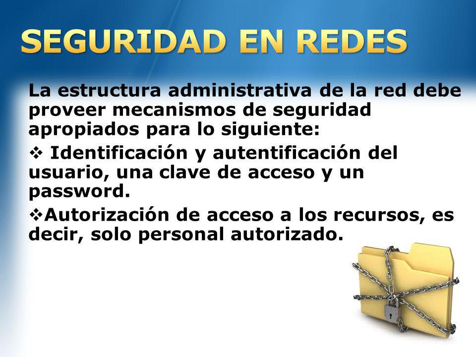 La estructura administrativa de la red debe proveer mecanismos de seguridad apropiados para lo siguiente: Identificación y autentificación del usuario