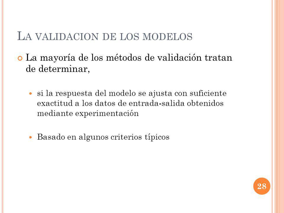 L A VALIDACION DE LOS MODELOS La mayoría de los métodos de validación tratan de determinar, si la respuesta del modelo se ajusta con suficiente exactitud a los datos de entrada-salida obtenidos mediante experimentación Basado en algunos criterios típicos 28