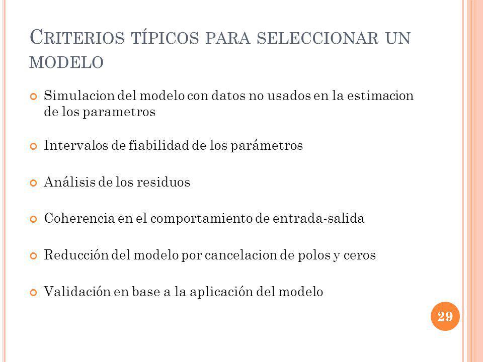 C RITERIOS TÍPICOS PARA SELECCIONAR UN MODELO Simulacion del modelo con datos no usados en la estimacion de los parametros Intervalos de fiabilidad de los parámetros Análisis de los residuos Coherencia en el comportamiento de entrada-salida Reducción del modelo por cancelacion de polos y ceros Validación en base a la aplicación del modelo 29
