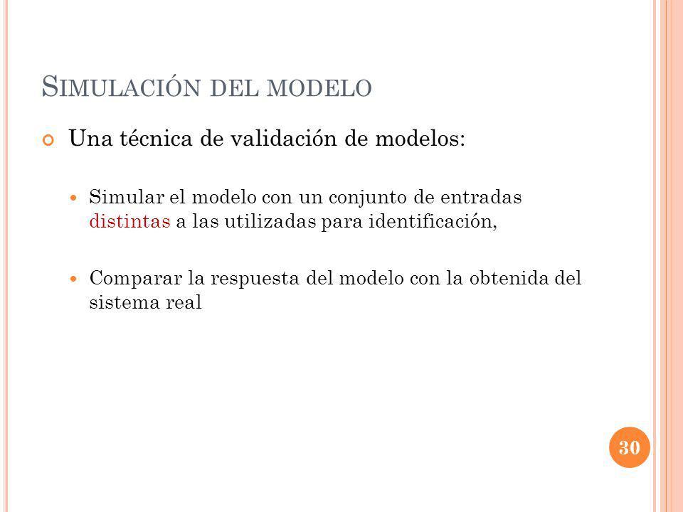 S IMULACIÓN DEL MODELO Una técnica de validación de modelos: Simular el modelo con un conjunto de entradas distintas a las utilizadas para identificación, Comparar la respuesta del modelo con la obtenida del sistema real 30