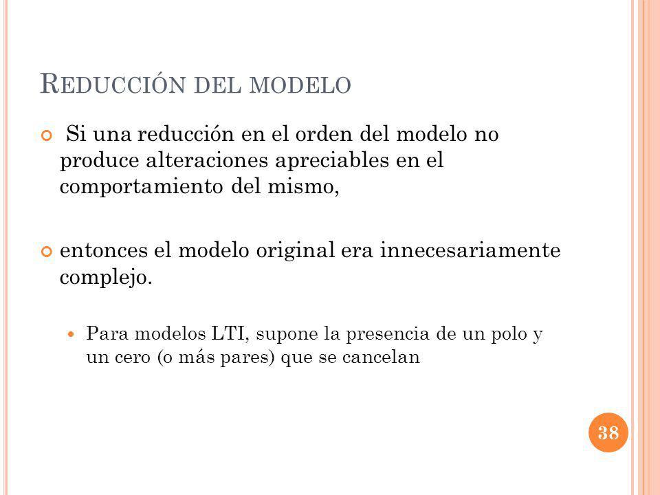 R EDUCCIÓN DEL MODELO Si una reducción en el orden del modelo no produce alteraciones apreciables en el comportamiento del mismo, entonces el modelo original era innecesariamente complejo.