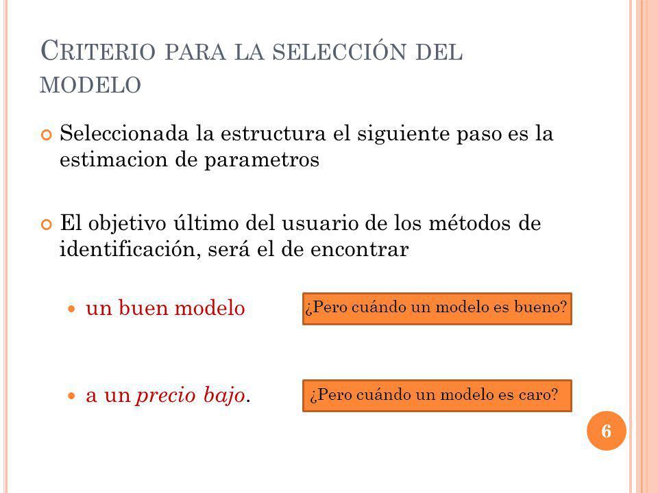 Seleccionada la estructura el siguiente paso es la estimacion de parametros El objetivo último del usuario de los métodos de identificación, será el de encontrar un buen modelo a un precio bajo.