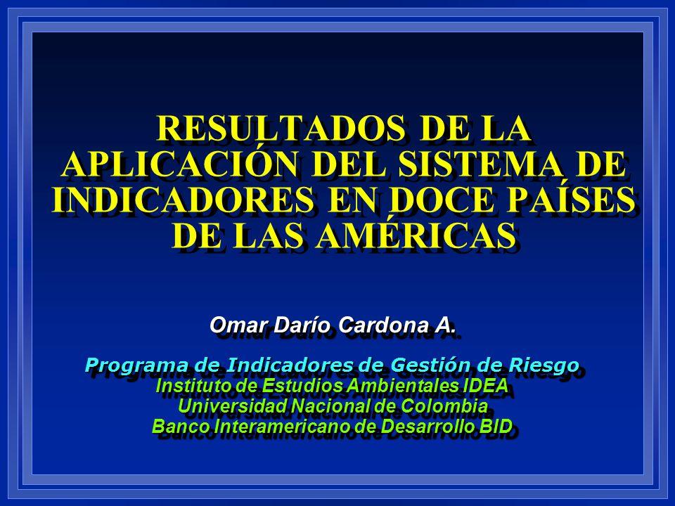 RESULTADOS DE LA APLICACIÓN DEL SISTEMA DE INDICADORES EN DOCE PAÍSES DE LAS AMÉRICAS Omar Darío Cardona A. Programa de Indicadores de Gestión de Ries