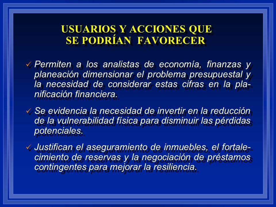 Permiten a los analistas de economía, finanzas y planeación dimensionar el problema presupuestal y la necesidad de considerar estas cifras en la pla-