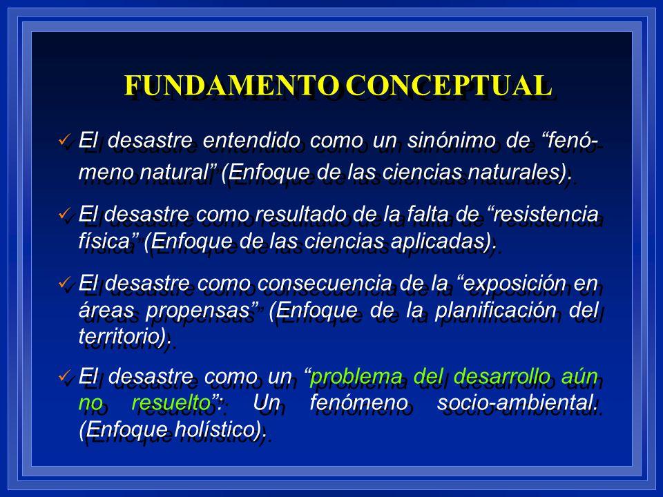 El desastre entendido como un sinónimo de fenó- meno natural (Enfoque de las ciencias naturales). El desastre como resultado de la falta de resistenci