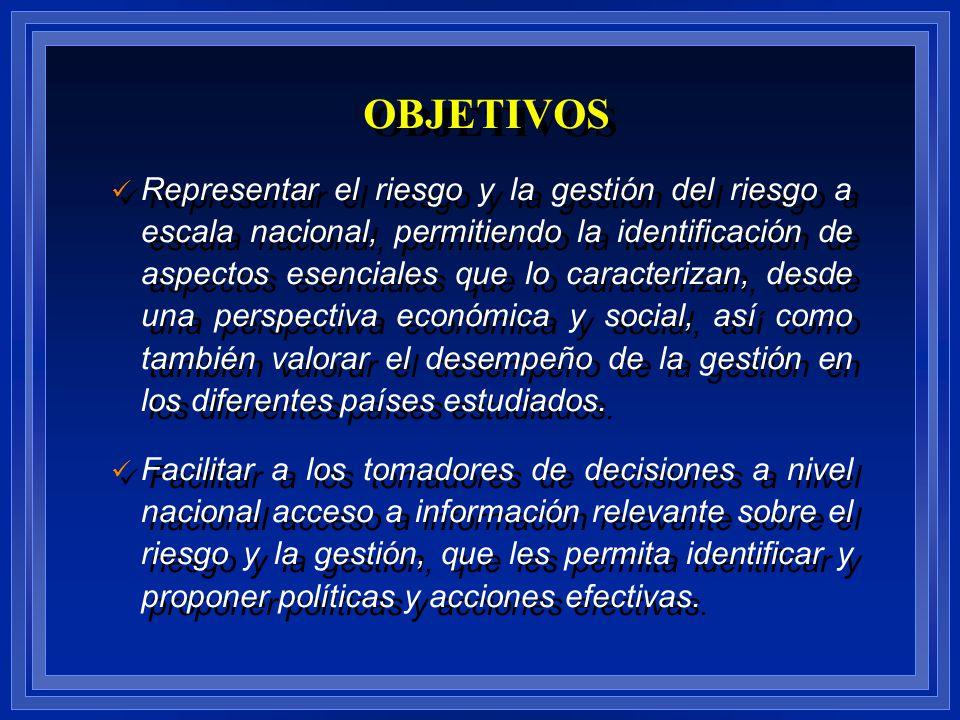 OBJETIVOS Representar el riesgo y la gestión del riesgo a escala nacional, permitiendo la identificación de aspectos esenciales que lo caracterizan, d
