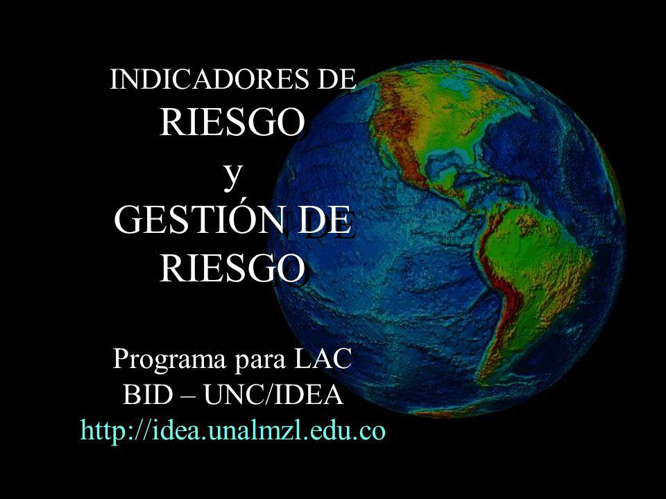 SISTEMA DE INDICADORES NACIONALES IDD : ÍNDICE DE DÉFICIT POR DESASTRE IDL : ÍNDICE DE DESASTRES LOCALES IVP : ÍNDICE DE VULNERABILIDAD PREVALENTE IGR : ÍNDICE DE GESTIÓN DEL RIESGO