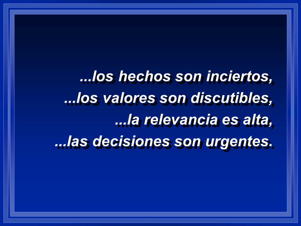 ...los hechos son inciertos,...los valores son discutibles,...la relevancia es alta,...las decisiones son urgentes....los hechos son inciertos,...los