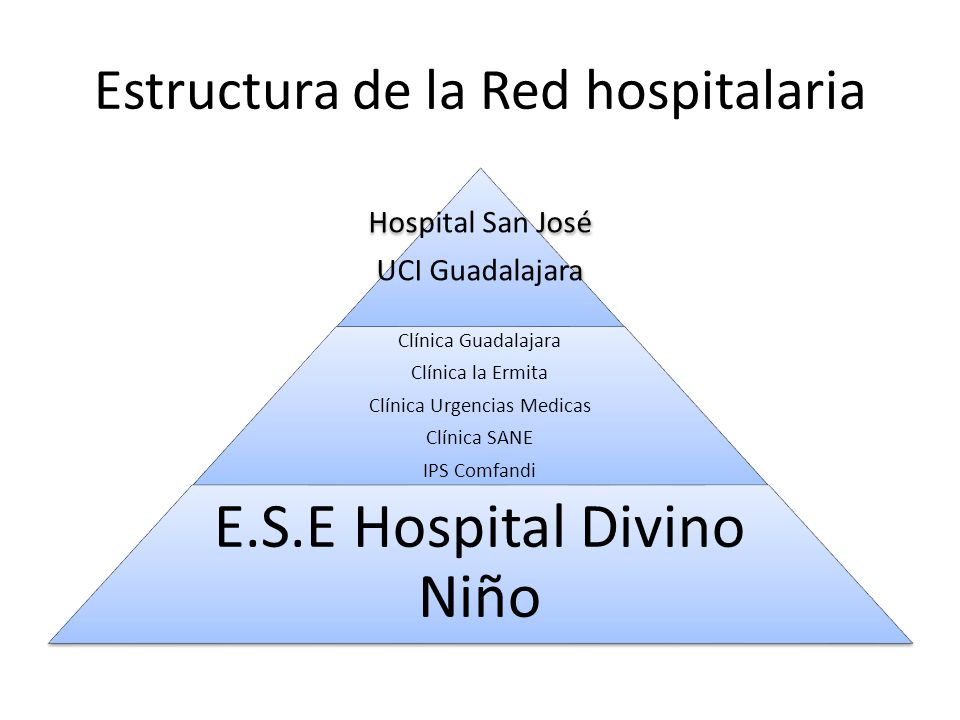 Estructura de la Red hospitalaria Hospital San José UCI Guadalajara Clínica Guadalajara Clínica la Ermita Clínica Urgencias Medicas Clínica SANE IPS Comfandi E.S.E Hospital Divino Niño