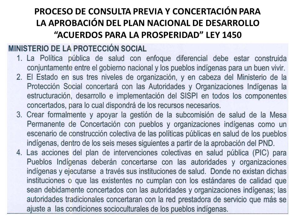 PROCESO DE CONSULTA PREVIA Y CONCERTACIÓN PARA LA APROBACIÓN DEL PLAN NACIONAL DE DESARROLLO ACUERDOS PARA LA PROSPERIDAD LEY 1450