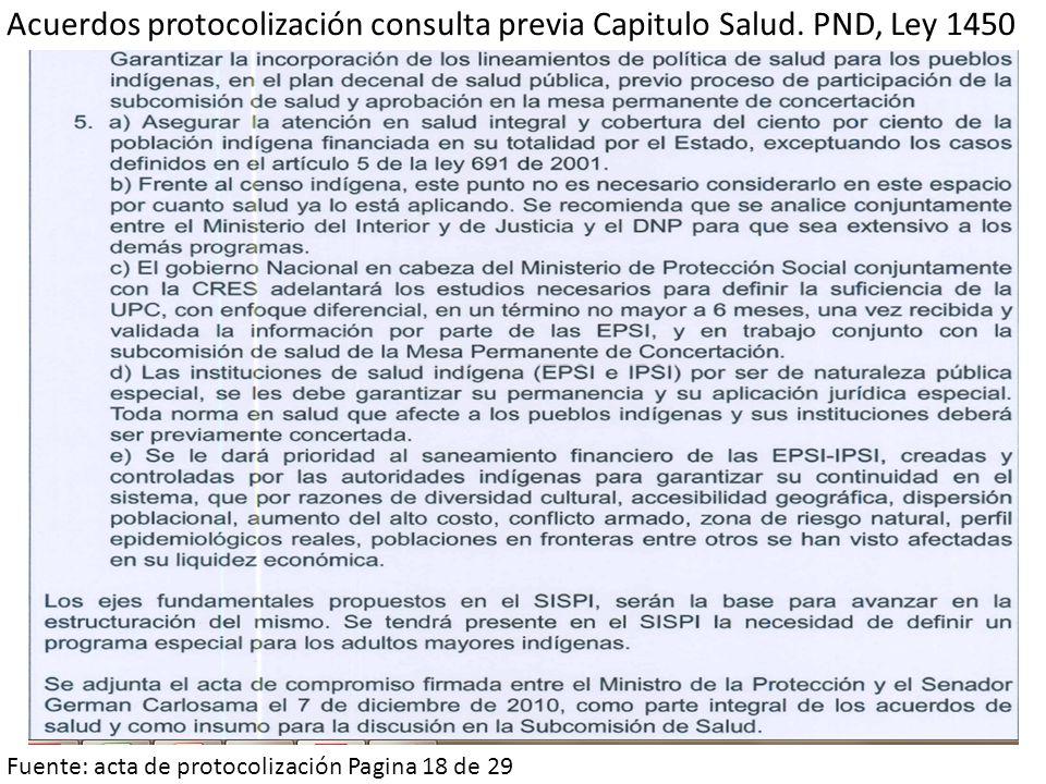 Acuerdos protocolización consulta previa Capitulo Salud. PND, Ley 1450 Fuente: acta de protocolización Pagina 18 de 29