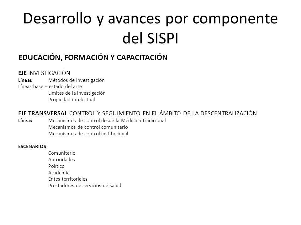 Desarrollo y avances por componente del SISPI EDUCACIÓN, FORMACIÓN Y CAPACITACIÓN EJE INVESTIGACIÓN Líneas Métodos de investigación Líneas base – esta