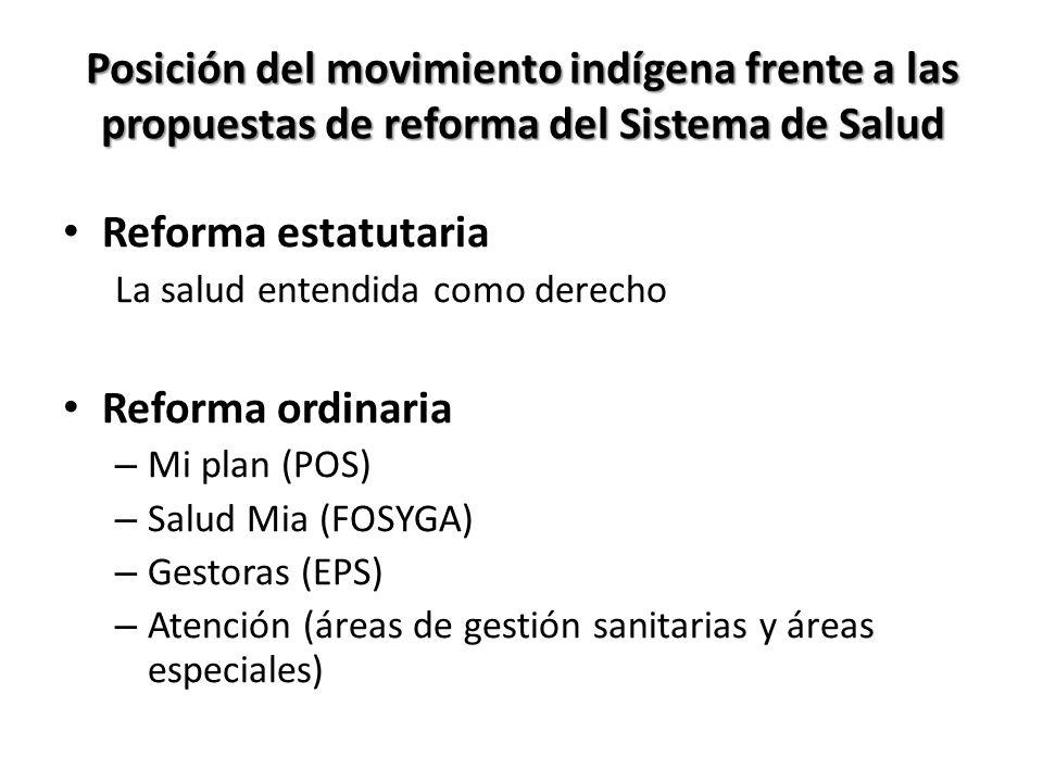 Posición del movimiento indígena frente a las propuestas de reforma del Sistema de Salud Reforma estatutaria La salud entendida como derecho Reforma o