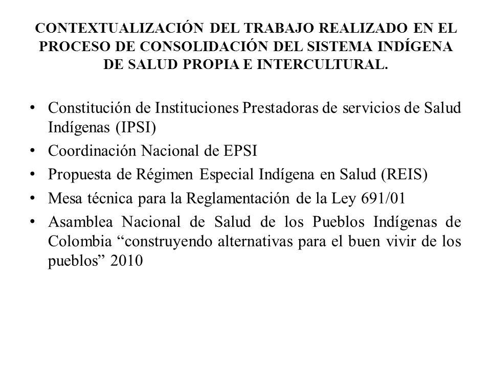 Constitución de Instituciones Prestadoras de servicios de Salud Indígenas (IPSI) Coordinación Nacional de EPSI Propuesta de Régimen Especial Indígena