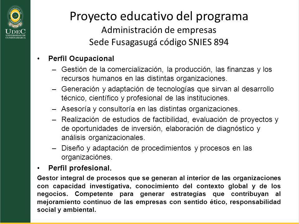 Perfil Ocupacional –Gestión de la comercialización, la producción, las finanzas y los recursos humanos en las distintas organizaciones. –Generación y