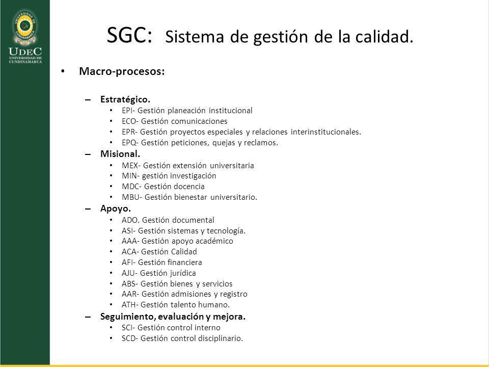 SGC: Sistema de gestión de la calidad. Macro-procesos: – Estratégico. EPI- Gestión planeación institucional ECO- Gestión comunicaciones EPR- Gestión p