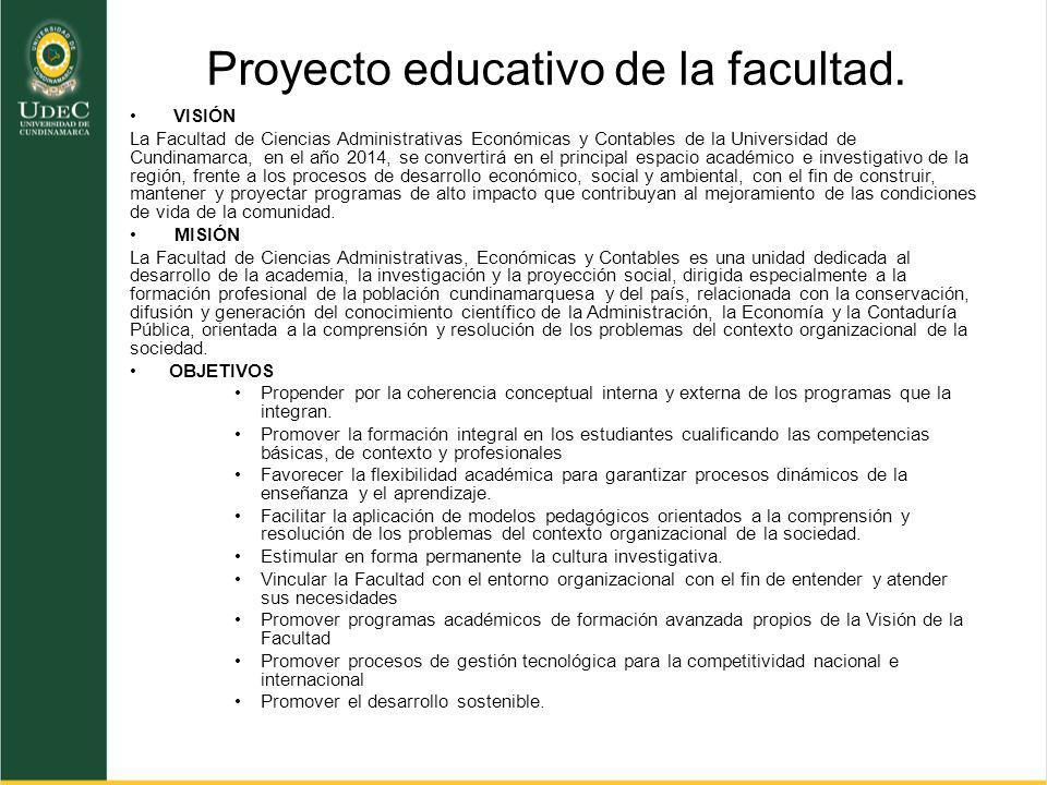 Proyecto educativo de la facultad. VISIÓN La Facultad de Ciencias Administrativas Económicas y Contables de la Universidad de Cundinamarca, en el año
