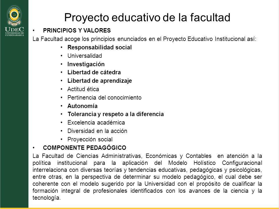 Proyecto educativo de la facultad PRINCIPIOS Y VALORES La Facultad acoge los principios enunciados en el Proyecto Educativo Institucional así: Respons